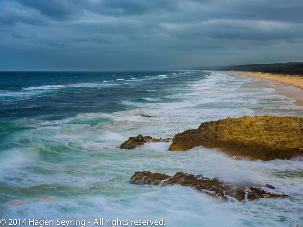 View at the beach of Stradbroke Island by stormy weather