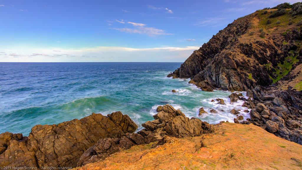 Cliff coast close by the lighthouse of Byron Bay