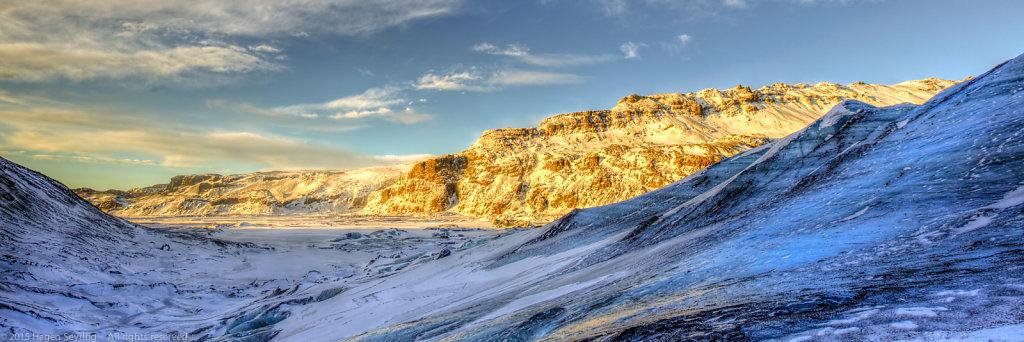 View from  the glacier Sölheimajökull