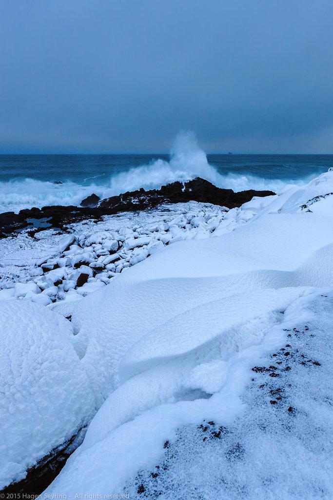 Surge at the coast  Valahnukur, Iceland