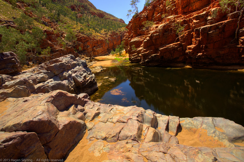 On the ground of the Ormiston Gorge