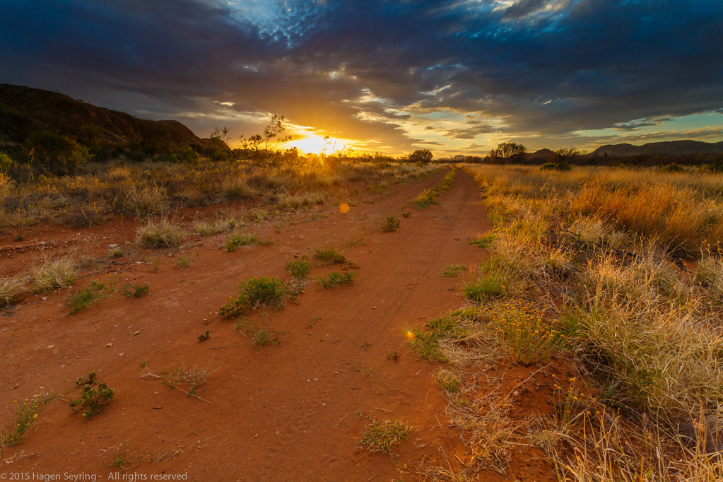 Sunset over the deepest outback close to the Hugh river
